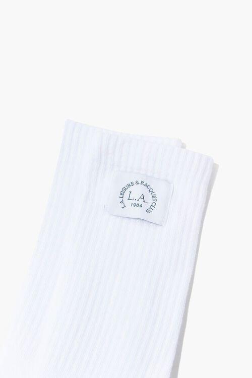 WHITE LA Racquet Club Graphic Crew Socks, image 3