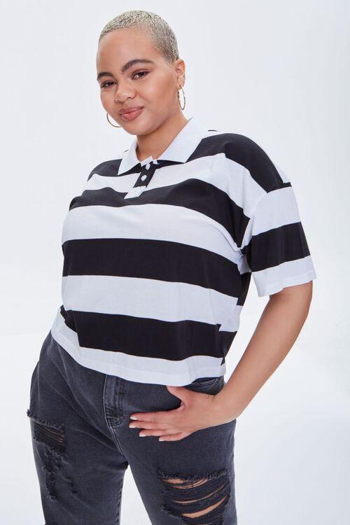 Plus Size Striped Polo Shirt, image 1