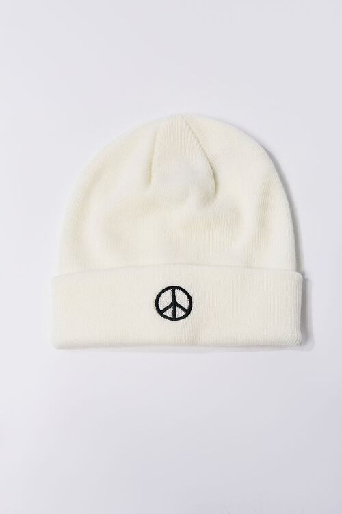 Peace Sign Embroidered Beanie Set, image 2