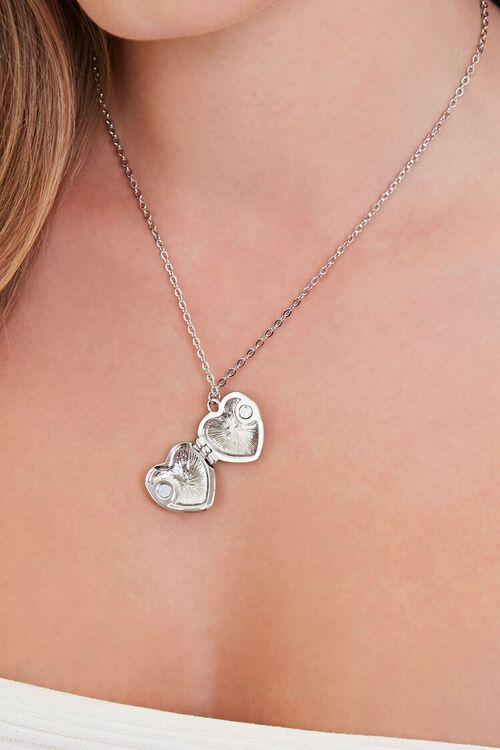 SILVER Heart Locket Pendant Necklace, image 2