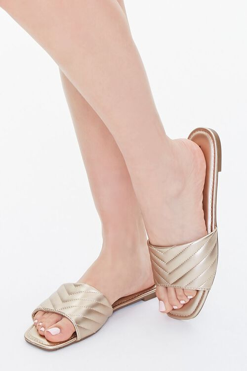 Metallic Quilted Sandals, image 1