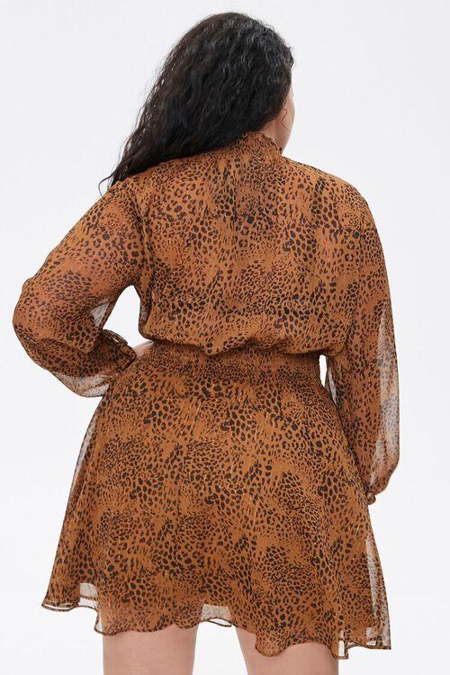BROWN/BLACK Plus Size Leopard Print Chiffon Dress, image 3