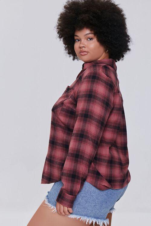 BERRY/BLACK Plus Size Dual-Pocket Flannel Plaid Shirt, image 2
