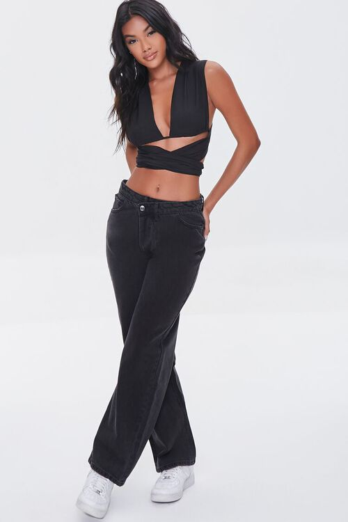 WASHED BLACK Crisscross High-Rise Straight Jeans, image 1