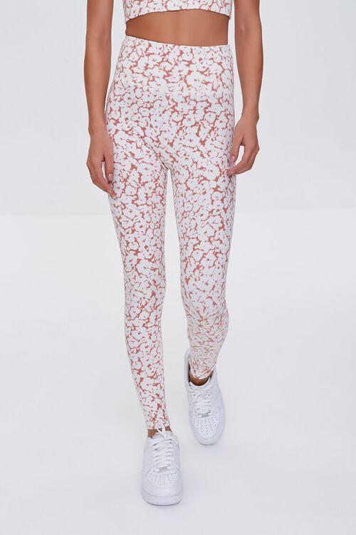 MAUVE/WHITE Active Floral High-Rise Leggings, image 2