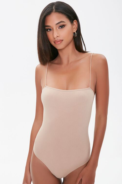 Straight-Neck Cami Thong Bodysuit, image 5