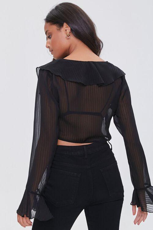BLACK Shadow-Striped Ruffled Flounce Top, image 3