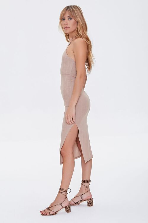TAUPE Ribbed Knit Halter Dress, image 3