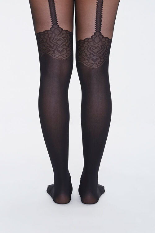 Ornate Heart Print Tights, image 3