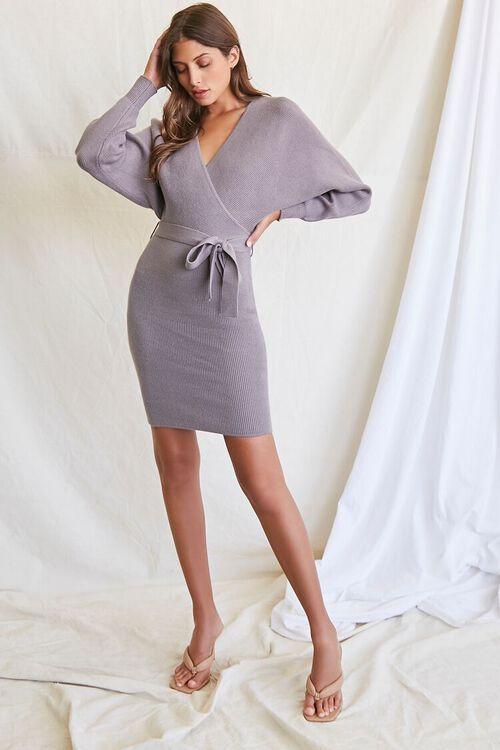 LIGHT GREY Sweater-Knit Wrap Dress, image 4