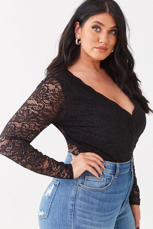 Plus Size Floral Lace Bodysuit, image 2