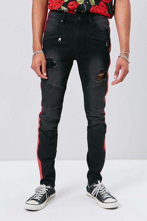 Side-Striped Distressed Moto Jeans, image 2