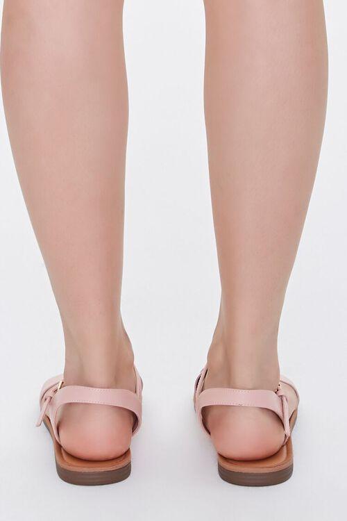 Faux Leather Flat Sandals, image 3