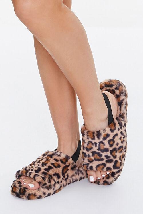Faux Fur Leopard Print Indoor Slippers, image 1