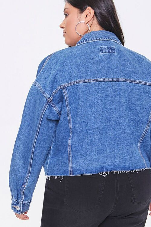 Plus Size Raw-Cut Denim Jacket, image 3