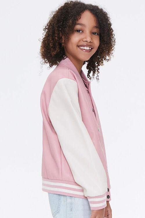 Girls Faux Leather Varsity Jacket (Kids), image 2