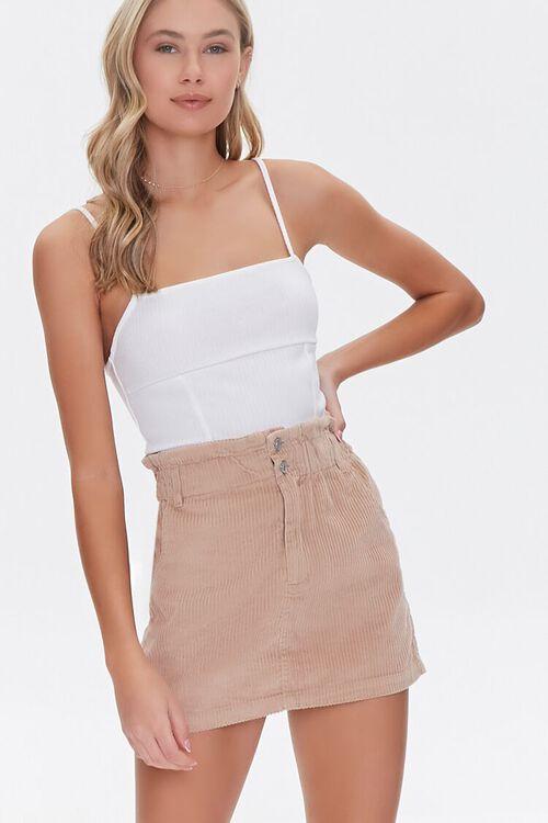Paperbag Corduroy Mini Skirt, image 1