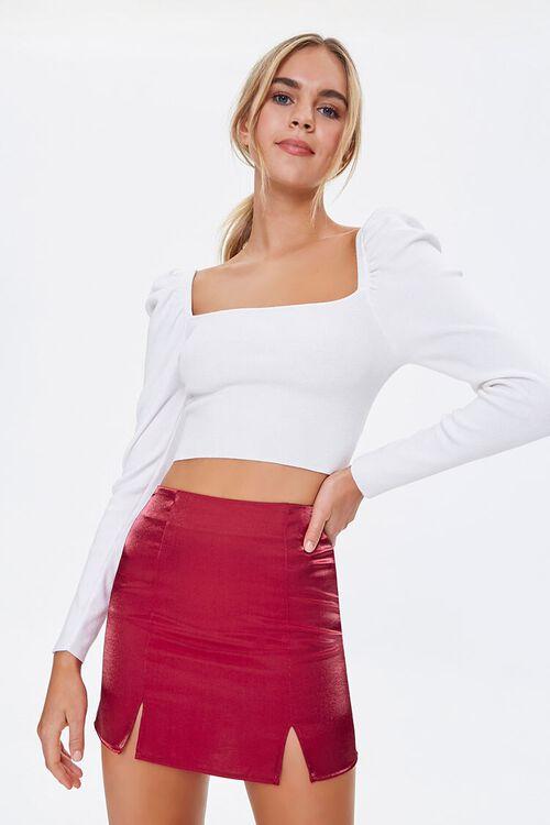 Metallic M-Slit Mini Skirt, image 1