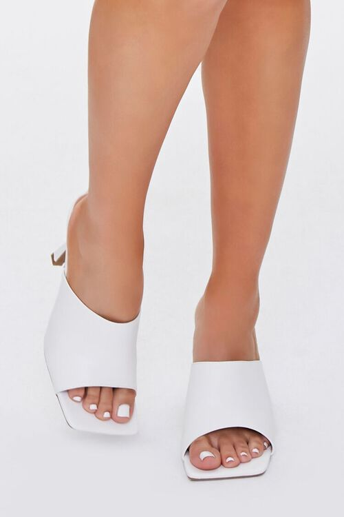 Faux Leather Square-Toe Heels, image 4