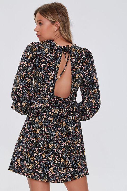 BLACK/MULTI Floral Print Mini Dress, image 3