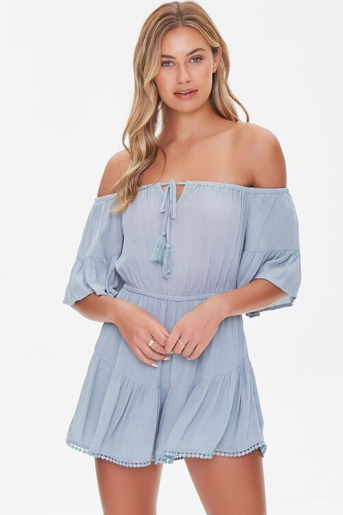 Off-the-Shoulder Ruffle Romper, image 1