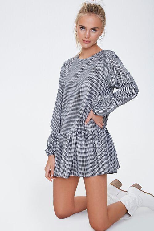 Gingham Peasant Mini Dress, image 1