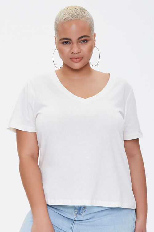 Plus Size Cotton-Blend Tee, image 1