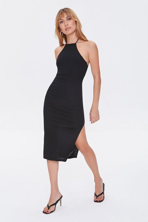 Ribbed Knit Halter Dress, image 1