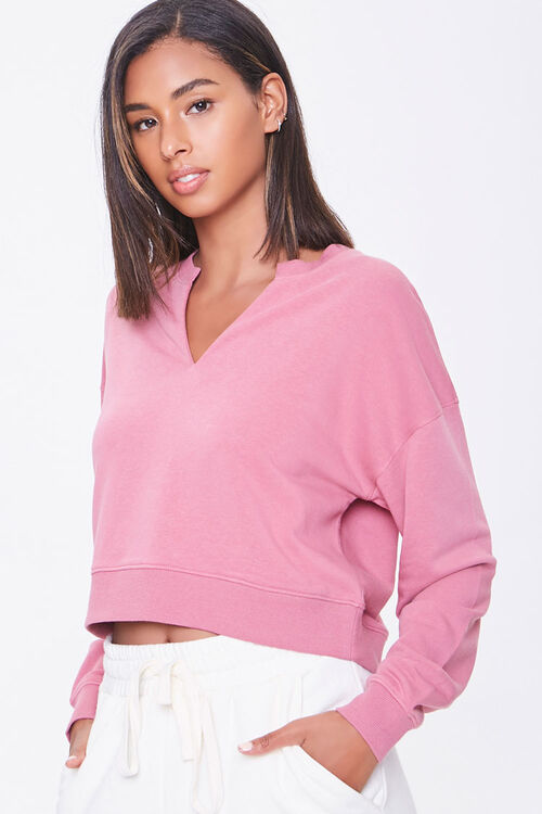 Split-Neck French Terry Pullover, image 1