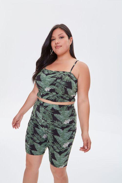 BLACK/MULTI Plus Size Tropical Leaf Biker Shorts, image 6
