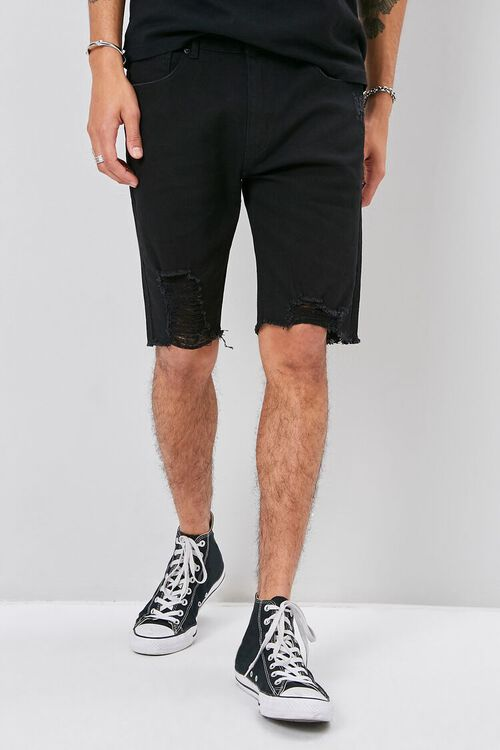 Clean Wash Distressed Denim Shorts, image 2