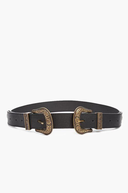 Burnished Faux Leather Belt, image 1