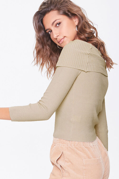 Ribbed Off-the-Shoulder Sweater, image 2