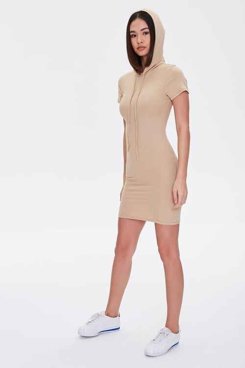 KHAKI Hooded Bodycon Mini Dress, image 4