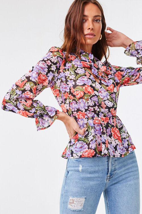 Floral Chiffon Pussycat Bow Top, image 1