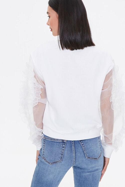 WHITE Ruffled-Sleeve Sweater, image 2