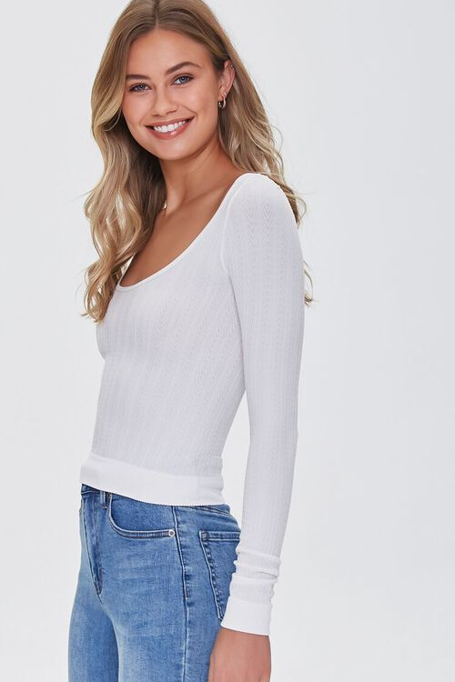 IVORY Ribbed Knit Scoop Top, image 2