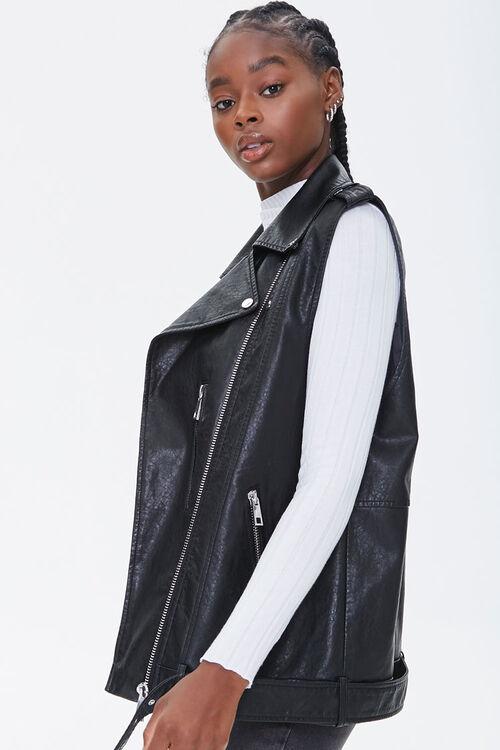 BLACK Faux Leather Moto Vest, image 2
