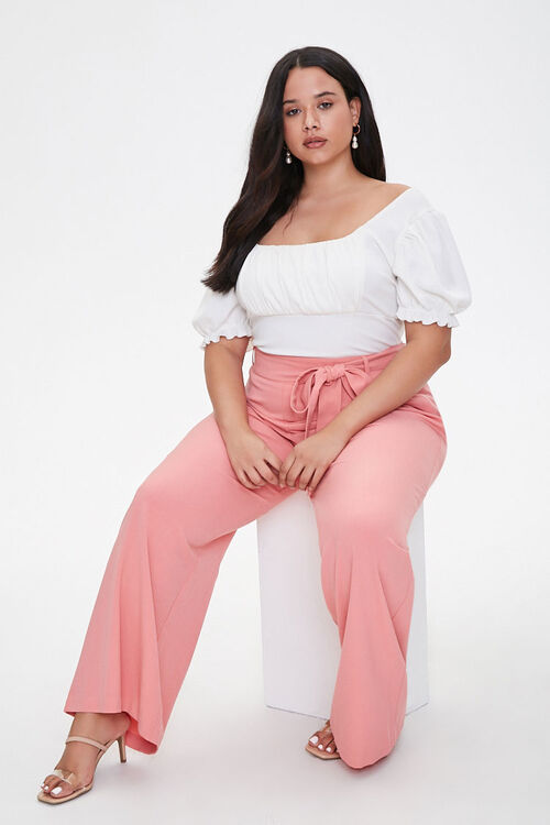 Plus Size Belted Wide-Leg Pants, image 1