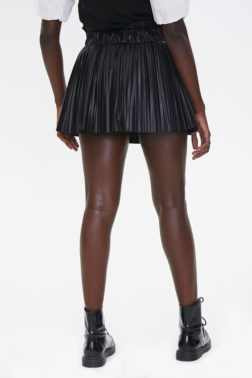 Pleated Faux Leather Mini Skirt, image 4