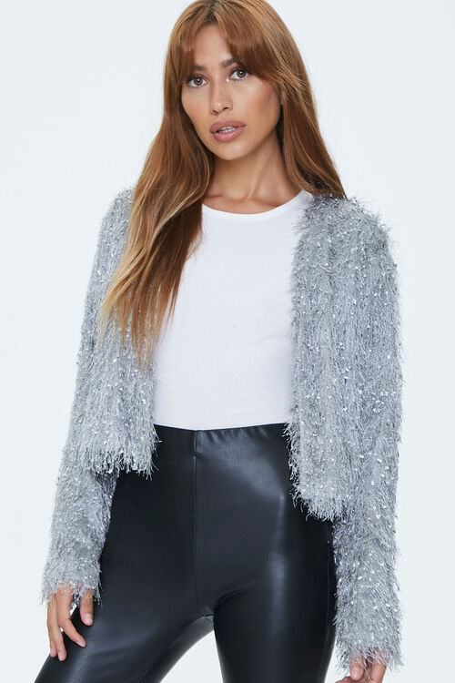Shaggy Knit Open-Front Jacket, image 1