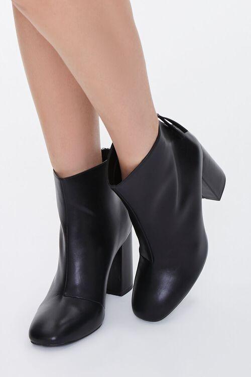 Faux Leather Block Heel Booties, image 1