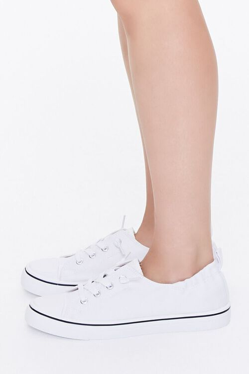 WHITE Canvas Low-Top Sneakers, image 2