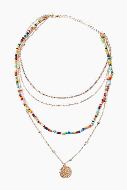 GOLD/MULTI Coin Pendant Beaded Layered Necklace, image 2