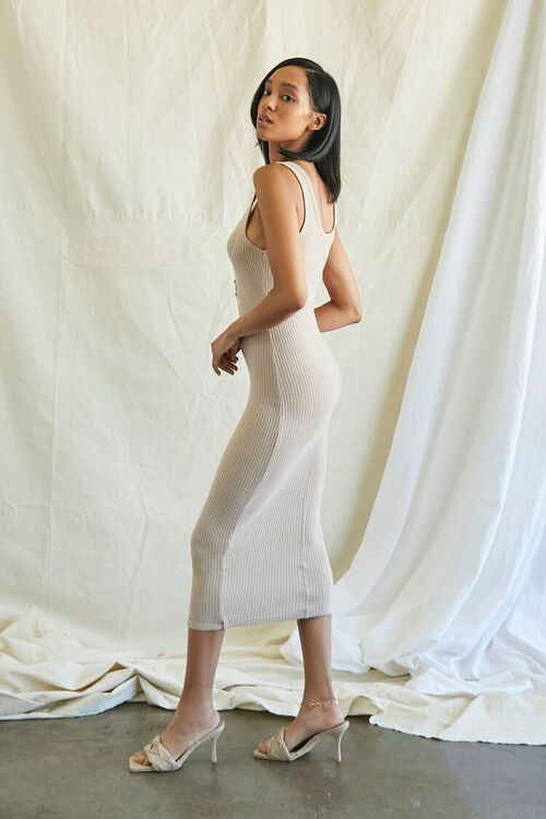 TAUPE Ribbed Knit Tank Top Dress, image 3