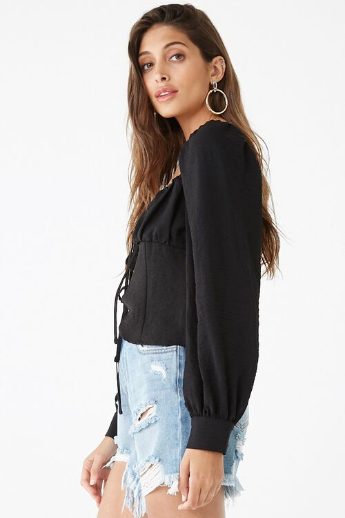 Long Sleeve Self-Tie Cutout Top, image 2