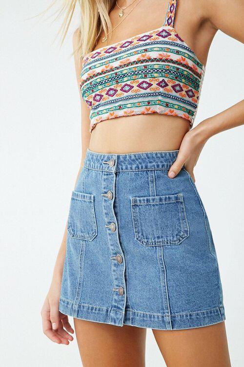Denim Button-Front Skirt, image 1