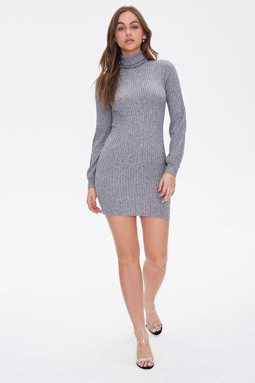 HEATHER GREY Ribbed Knit Mini Dress, image 4
