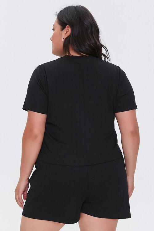 Plus Size Tee & Drawstring Shorts Set, image 3