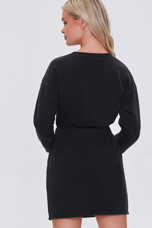 BLACK French Terry Cutout Mini Dress, image 3